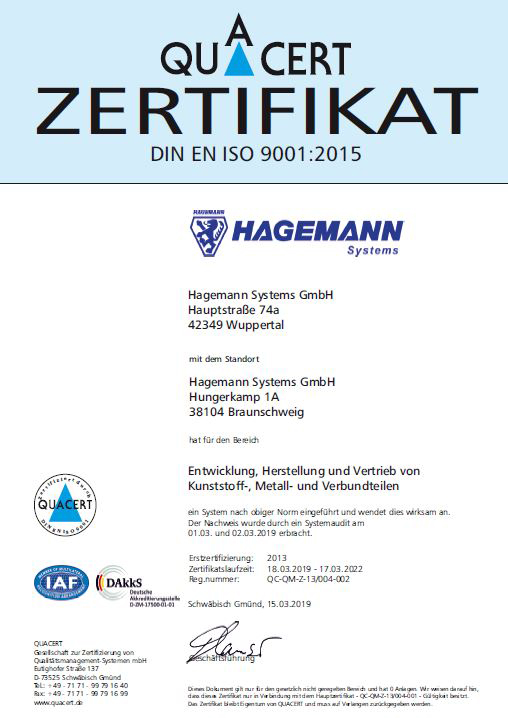 Hagemann Systems Quarcet zertifikat thumbnail